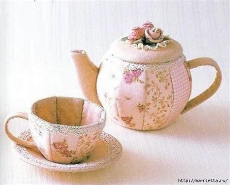 cucito creativo fiori di stoffa fiori di stoffa teiera e tazza con cartamodello cucito