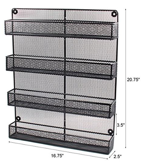 Large Wall Mount Spice Rack by Esylife 4 Tier Large Wall Mounted Wire Spice Rack