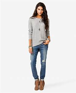 Loose sweater + skinny jeans + ankle boots | Fall and winter style | Pinterest | New york Ankle ...
