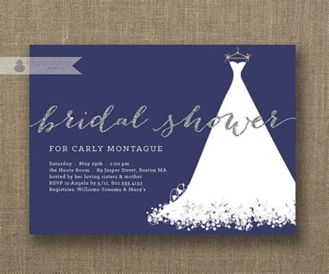 silver glitter bridal shower invitation wedding gown white