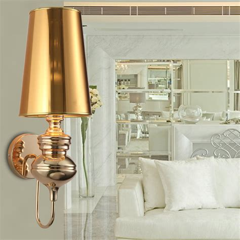 indoor wall sconces modern gold wall sconce with lshade bedroom indoor wall