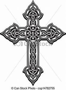 Vector - Ornate Christian Cross - stock illustration ...