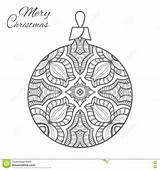 Christmas Coloring Ball Adult Doodle Zen Ornament Vector sketch template