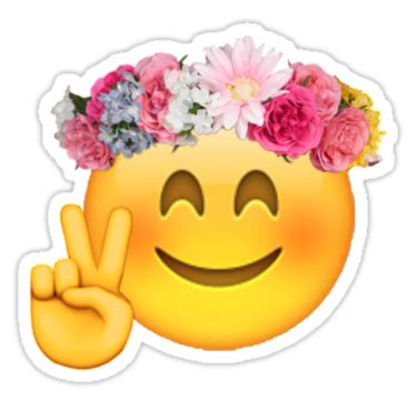 quot flower crown emoji quot stickers by mizsarie redbubble