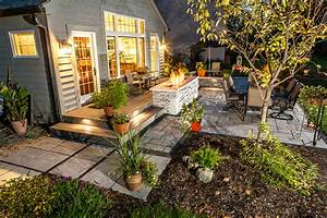 Outdoor landscape lighting for patios walkways and