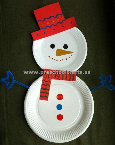 Paperplatesnowmancraftidea  Preschool Crafts
