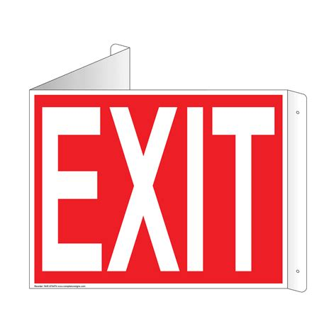 exit light enter exit and entrance 3d triangle projection signs
