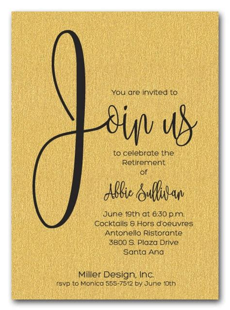 shimmery gold join  retirement party invitations