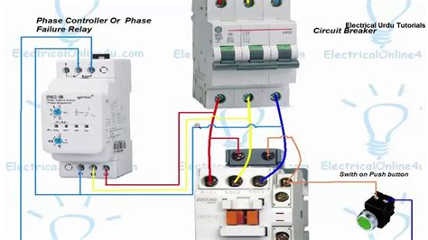 wiring diagram for phase failure relay phase failure relay connection installation in hindi urdu youtube