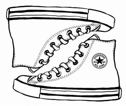 Converse Shoe Coloring Drawing Sketch Sepatu Template