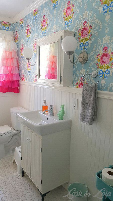 shabby chic bathroom wallpaper our bathroom remodel lark lola pip studio wallpaper shabby chic beadboard ruffle