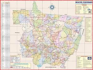 Mapa Estado De Mato Grosso 120 X 90cm Gigante Atualizado ...