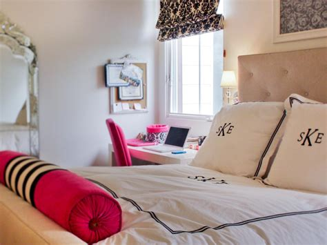 neutral  hot pink teen girls bedroom hgtv