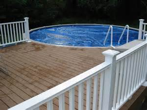 white deck fence unfinished above ground pool decks building