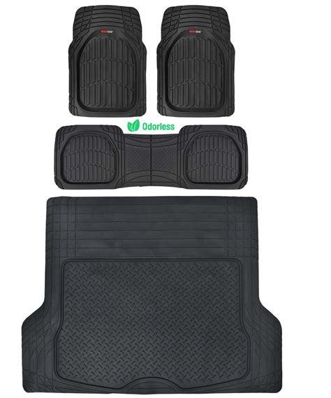Motor Trend Deep Dish Rubber Floor Mats & Cargo Set