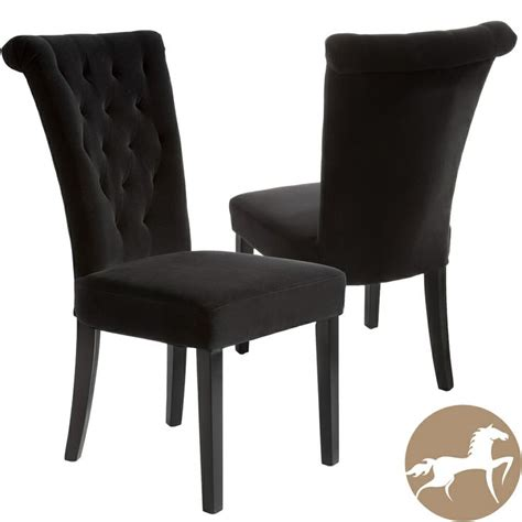 christopher home venetian black velvet dining chair