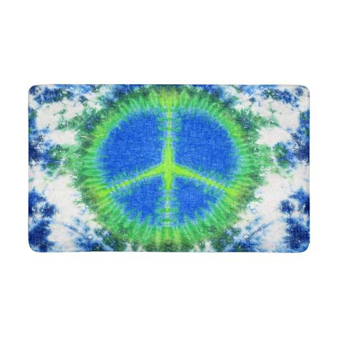 Peace Sign Doormat by Peace Sign Tie Dyed Pattern On Linen Anti Slip Door Mat