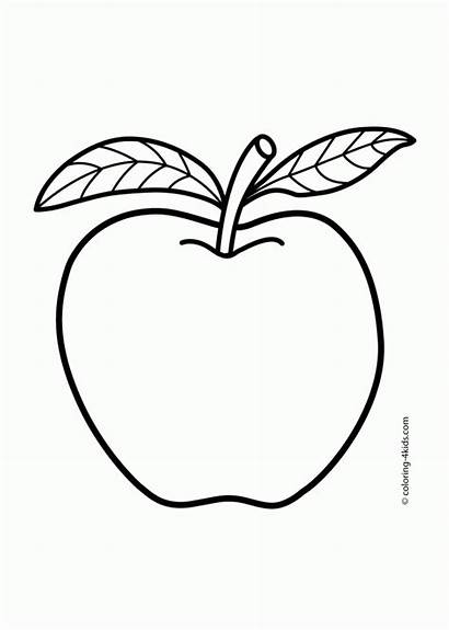 Apple Printable Coloring Fruits Popular