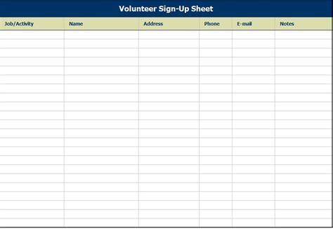 volunteer sign up sheet template volunteer sign up sheet volunteer sign up sheet template
