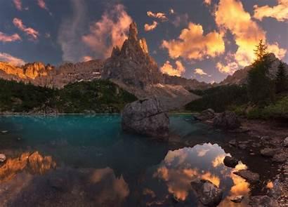 Summer Nature Lake Landscape Mountains Sunset Reflection