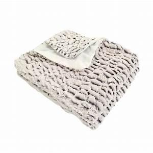 Plaid Fourrure Blanc : plaid imitation fourrure ecorce blanc d co textile eminza ~ Nature-et-papiers.com Idées de Décoration