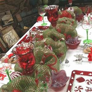 Deco poly mesh garland as a Christmas table runner or