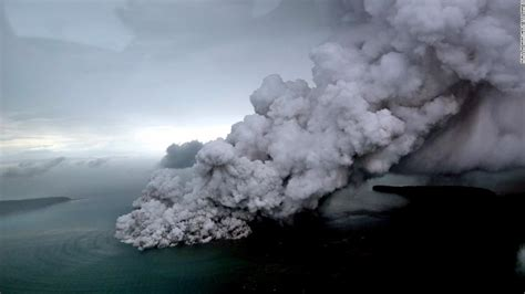 indonesian volcano  triggered tsunami loses  thirds