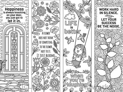 set   coloring bookmarks  feel good quotes cute