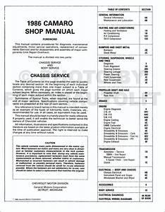 1986 Chevy Camaro Repair Shop Manual Original