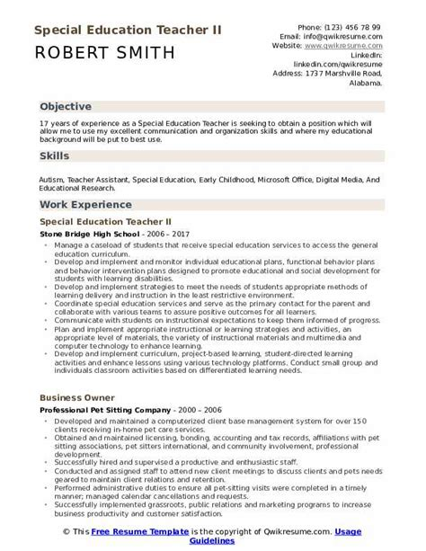 Educational Resume by Special Education Resume Sles Qwikresume