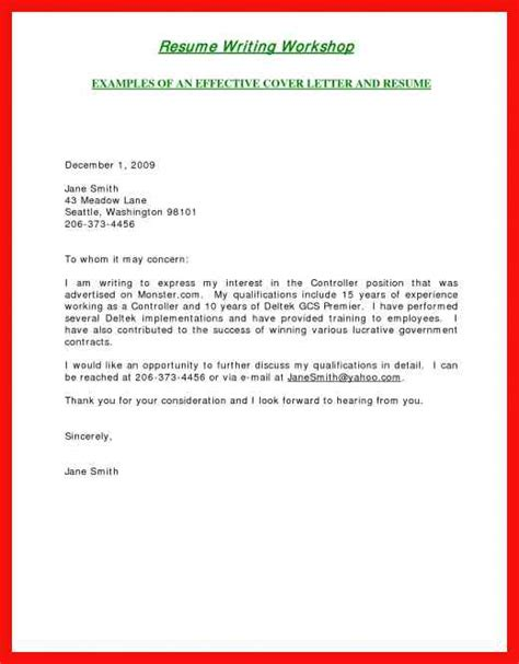 short simple cover letter