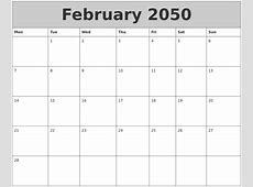 February 2050 My Calendar