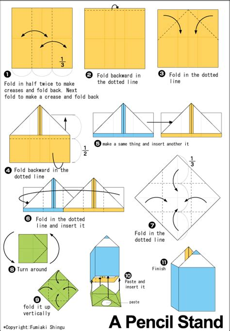 Origami Pencil Box Easy Instructions For