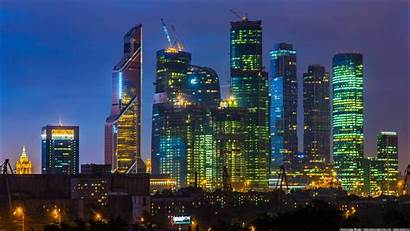 Moscow Night Skyscraper Lights Skyline Cyberpunk 1080p