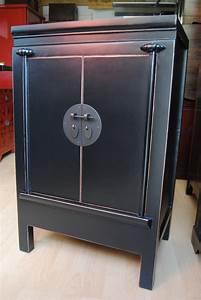 Petit Meuble Noir : solde meuble asiatique table de lit a roulettes ~ Teatrodelosmanantiales.com Idées de Décoration