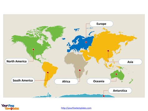 world map  continents  powerpoint templates