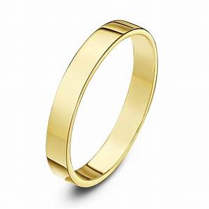 9kt yellow gold heavy flat 3mm wedding ring With flat wedding rings
