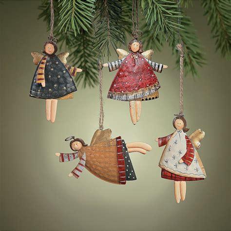 Rustic Metal Dancing Angel Ornaments Dozen Country