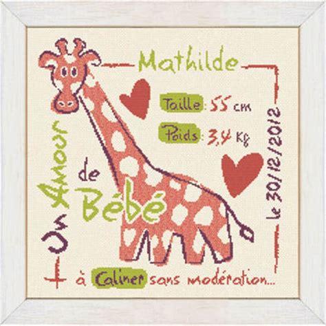 phrase chambre bébé kit la girafe kb008 de lili points chez univers broderie