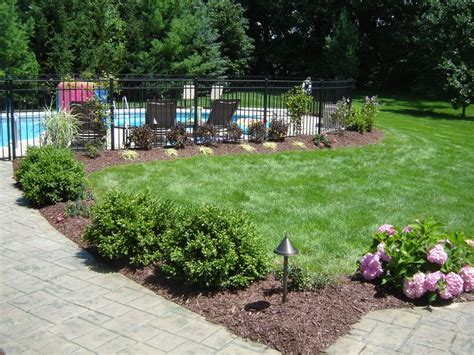 landscaping around fence landscaping around pool we could just fence the pool so we don t have to do whole yard pool