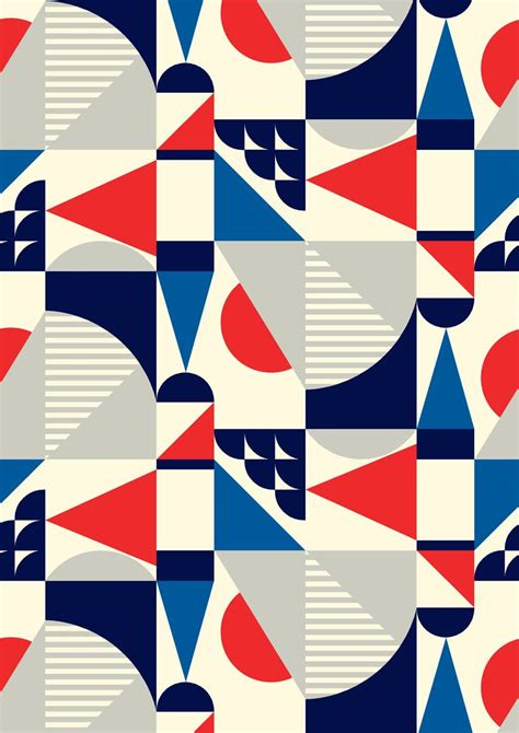 Abstract Geometric Shapes Pattern by Minakani Geometric Shapes Retro Square Stripe