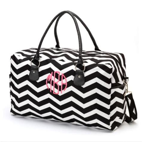 monogrammed black chevron weekender travel bag   pink