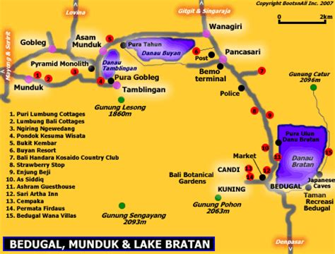 map  bedugal munduk  lake bratan bali blog