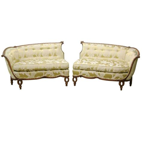 Recovering Settees by Style Carved Wood Sofas Recovered In A Schumacher