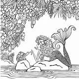 Coloring Zendoodle Paradise Pages Mermaid Books Mermaids Printable Getcolorings Klette Denyse Presents Artist Cleverpedia sketch template