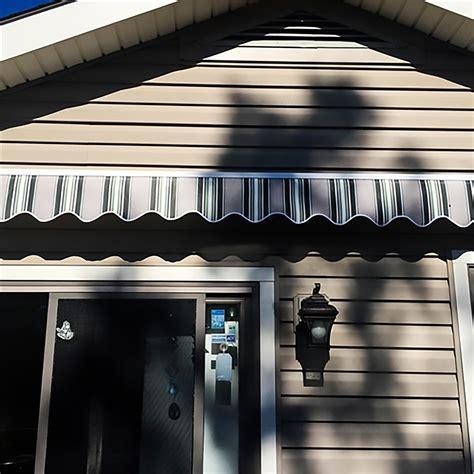 motorized retractable patio awning  feet multi striped green aleko