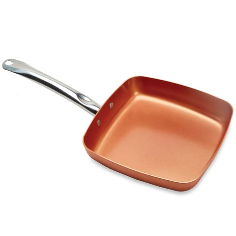 copper chef pan      tv induction compatible square frying pan