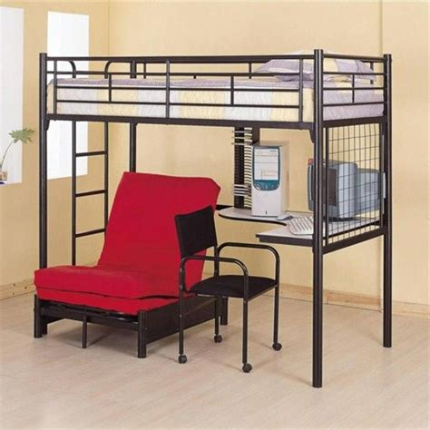 loft bed with desk and chair black metal sized loft bed with built in desk futon