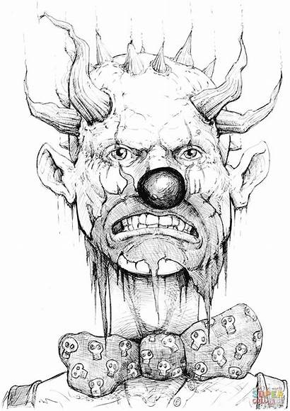 Clown Coloring Evil Very Pages Printable Horror