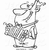 Cartoon Accordion Playing Coloring Outline Toonaday sketch template